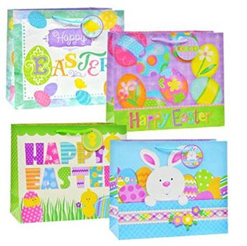 Easter gift bag bundle 4 bags each with a different design 12 whimsical easter themed bags are a lovely way to give goodies each bag measures and has matching ribbon handles and gift tags negle Choice Image