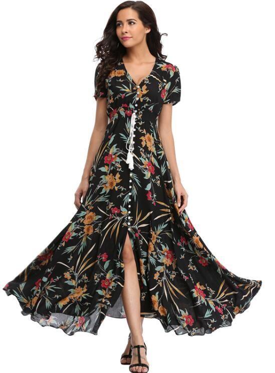 7753fa1b808 Long Flowy V-Neck Maxi Dress with Front Split (US Sizes XXS-L) in ...