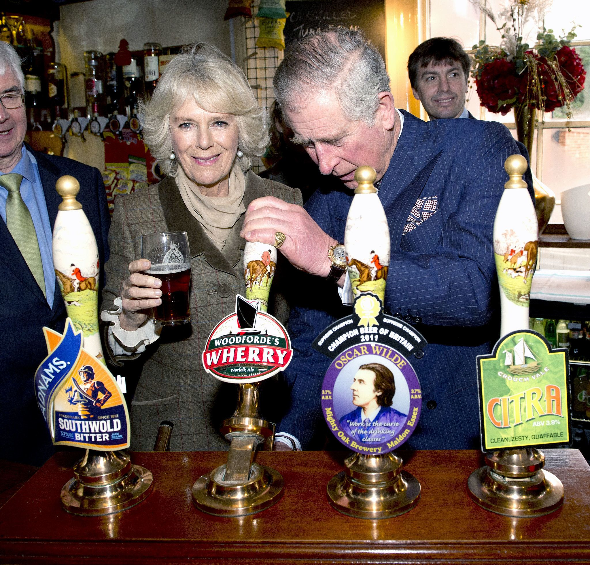 Camilla, Duchess of Cornwall, and Prince Charles enjoyed some beer while visiting The Bell Pub in Purleigh, England.
