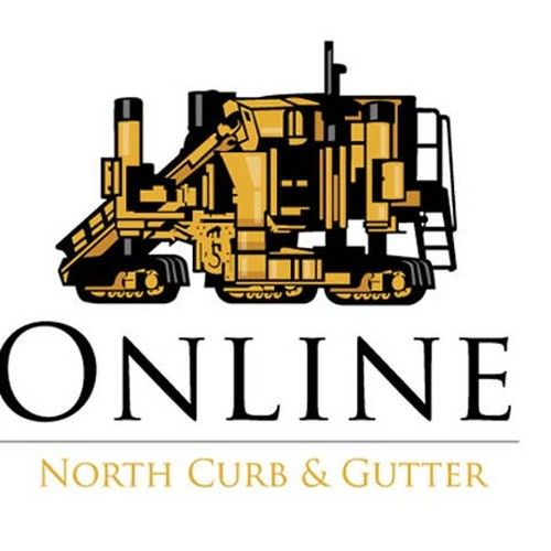 Online North Curb Gutter Cartoon Concrete Curbing Machine Construction Logo Design Concrete Curbing Construction Logo