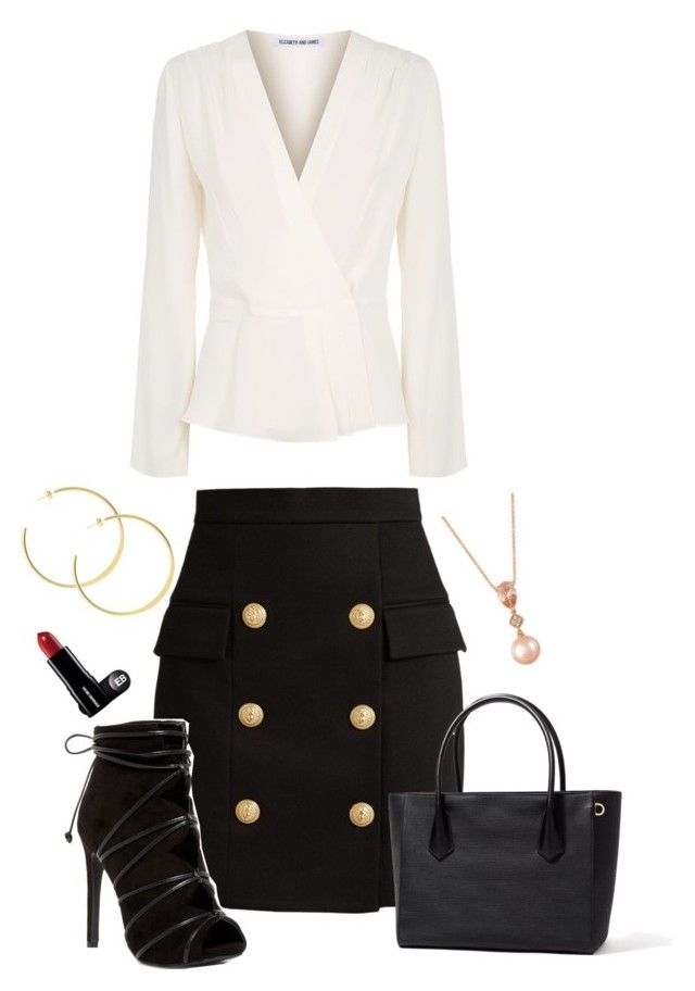 """""""Business Outfit"""" by dream-a-wish ❤ liked on Polyvore featuring Elizabeth and James, Balmain and LE VIAN"""