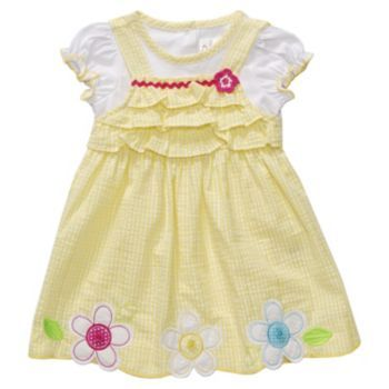 Youngland Floral Mock-Layer Seersucker Dress - Baby