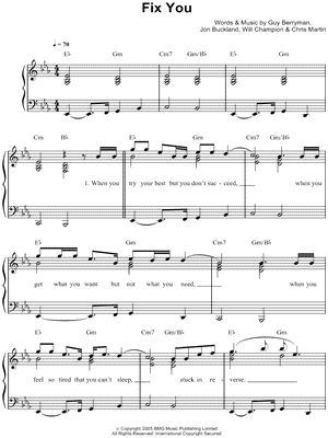"""Fix You"" Coldplay violin sheet music"