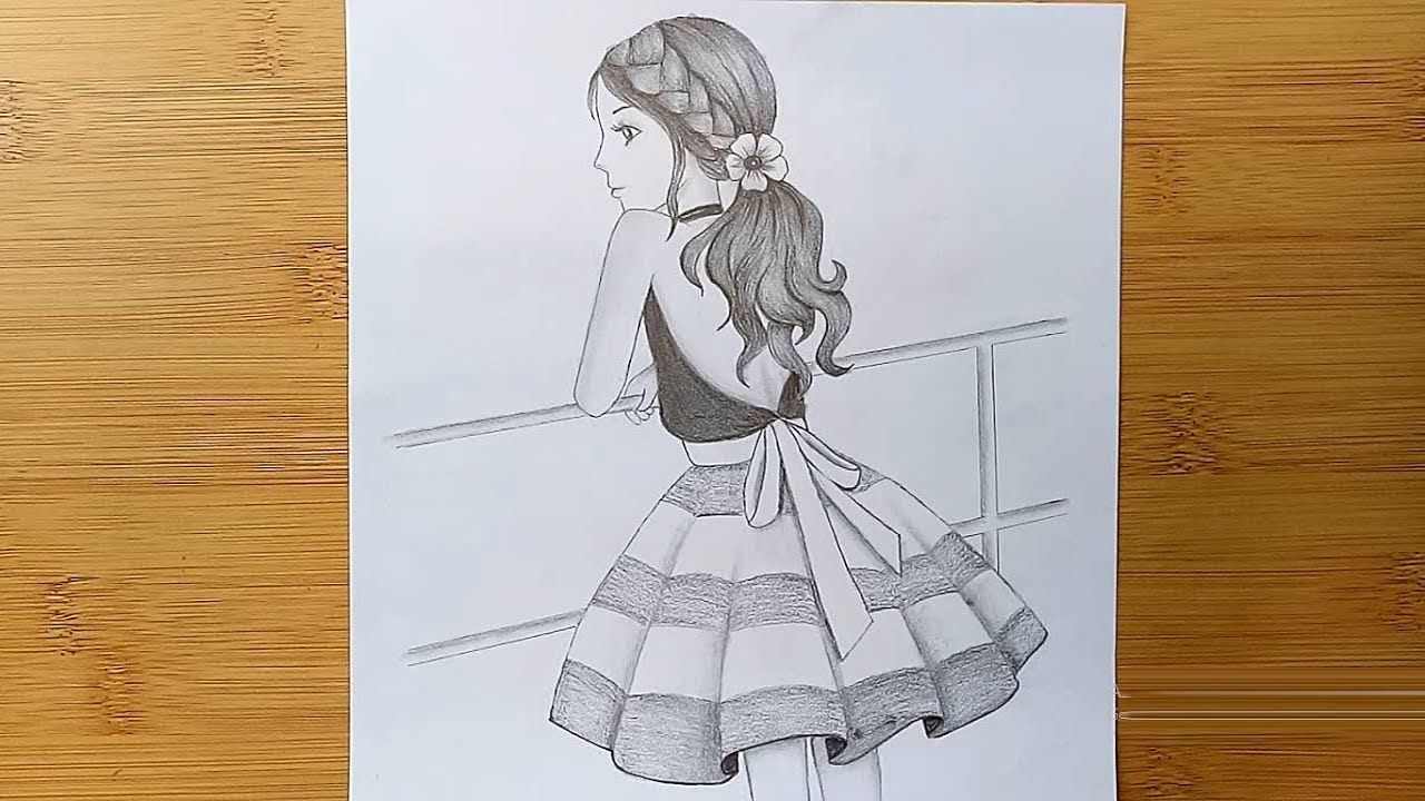 The Girl Is Standing On The Roof How To Draw A Girl With Pencil Sketch Y Art Drawings Sketches Simple Girl Drawing Sketches Art Drawings Sketches Creative