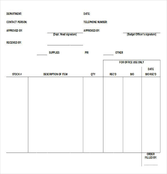 Blank Order Form Template u2013 34+ Word, Excel, PDF Document Download - resume form download