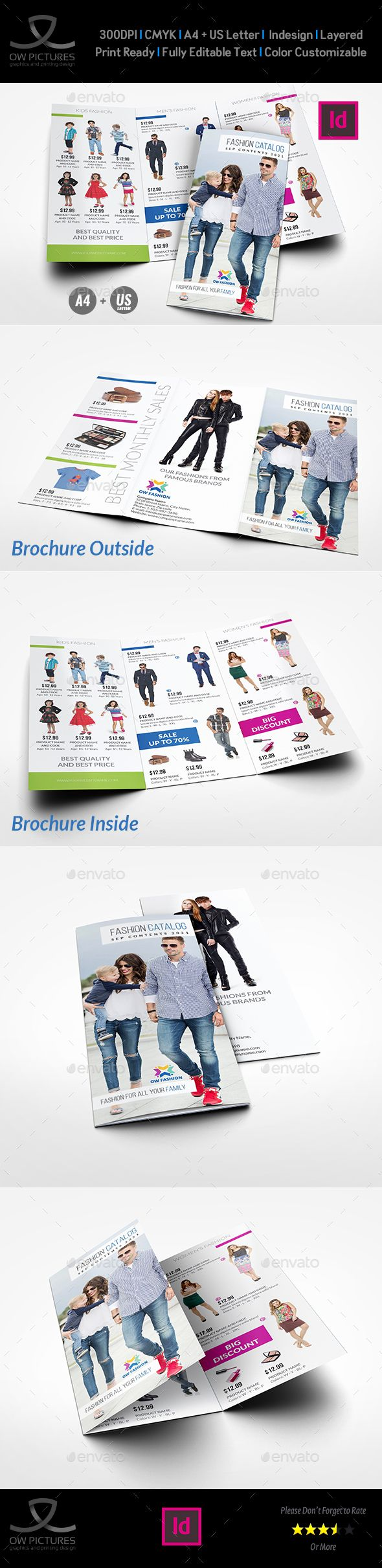 Fashion Catalog TriFold Brochure Template  Tri Fold Brochure