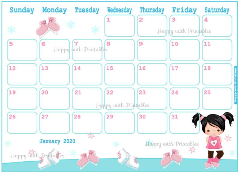 Calendar January 2020 Cute Winter Planner Printable girls