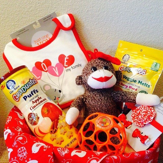 Awe This Precious Little Valentines Basket Was For A 1 Year Old Girl Sock Monkeys Are T Baby Valentines Gifts Valentine Gift Baskets Valentine Gifts For Kids