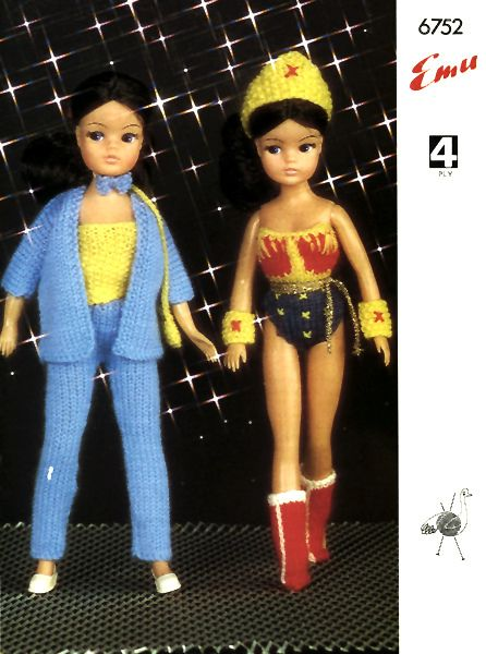 Vintage Wonder Woman Costume Knit For A Sindy Doll Woman Costumes