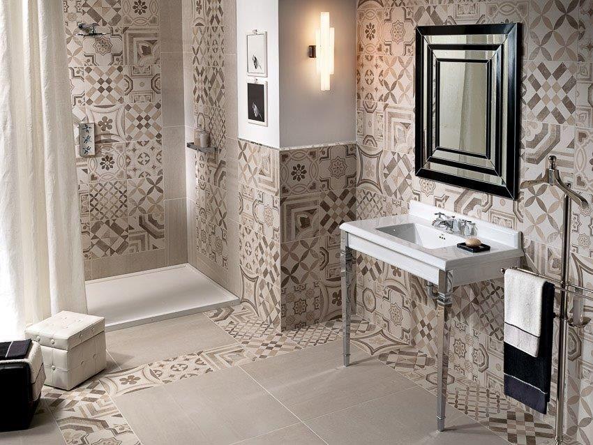 Pavimento rivestimento in gres porcellanato cementine warm for Servizi da bagno moderni
