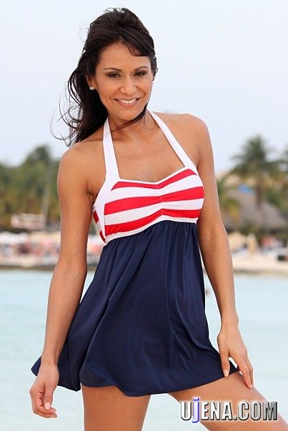 08a33aca7d96d0 UjENA Swimwear Sailor Girl Swim Dress. A little more coverage and a great  way to say I LOVE THE USA! Perfect to show off your American Spirit.  #madeintheusa