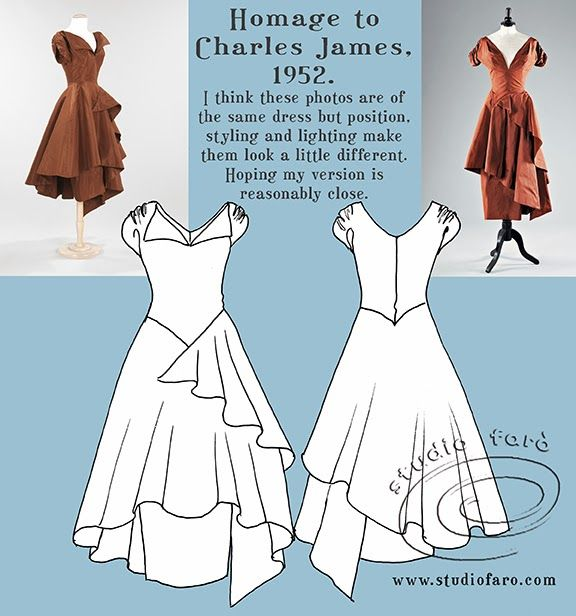 Once again that fabulous designer from the 1950's, Charles James, is the subject of the #PatternPuzzle. I believe the dresses photographed...