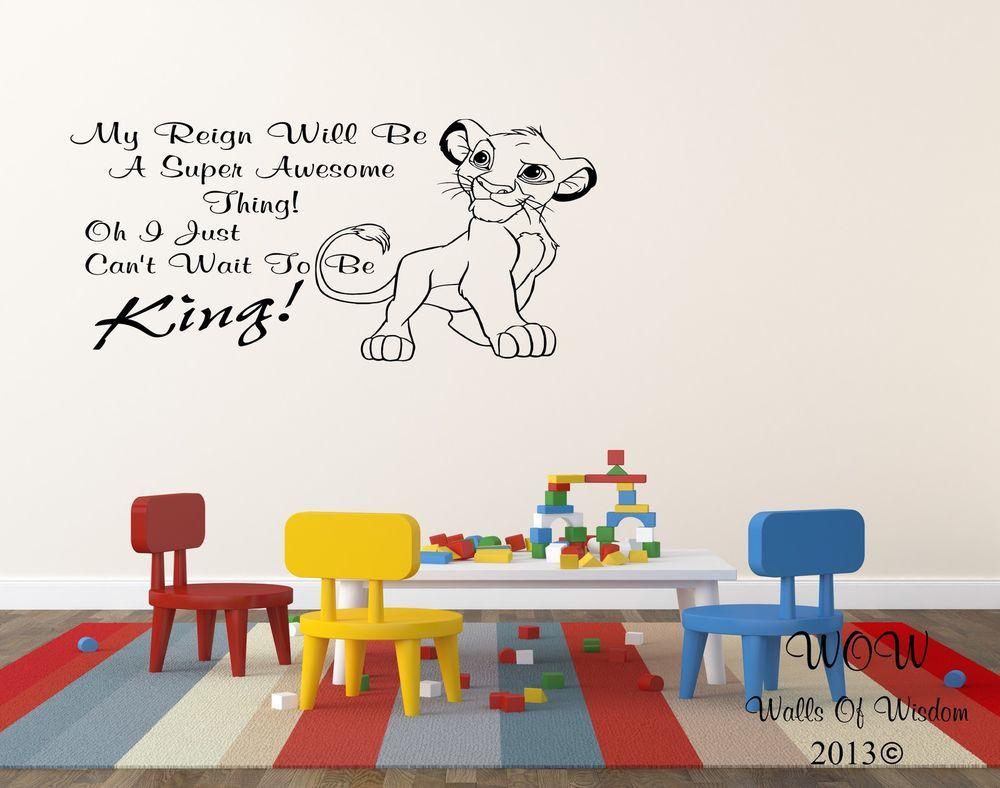Elegant Lion King Simba Childrens Bedroom Wall Sticker / Wall Art Home Decor  #WallsOfWisdom Part 13