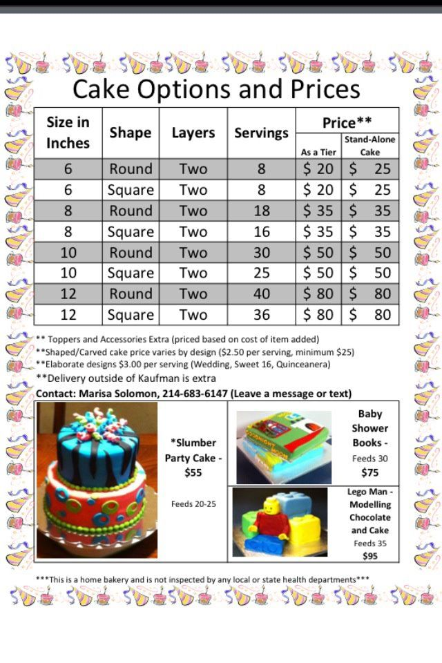 Cake Price Sheet (Pricing for a home bakery. Good to know) | Four ...