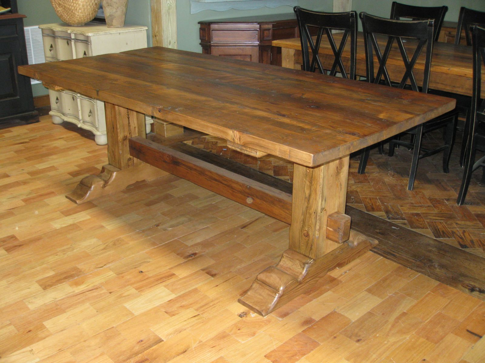 Beautiful Old Wood Beam Trestle Table