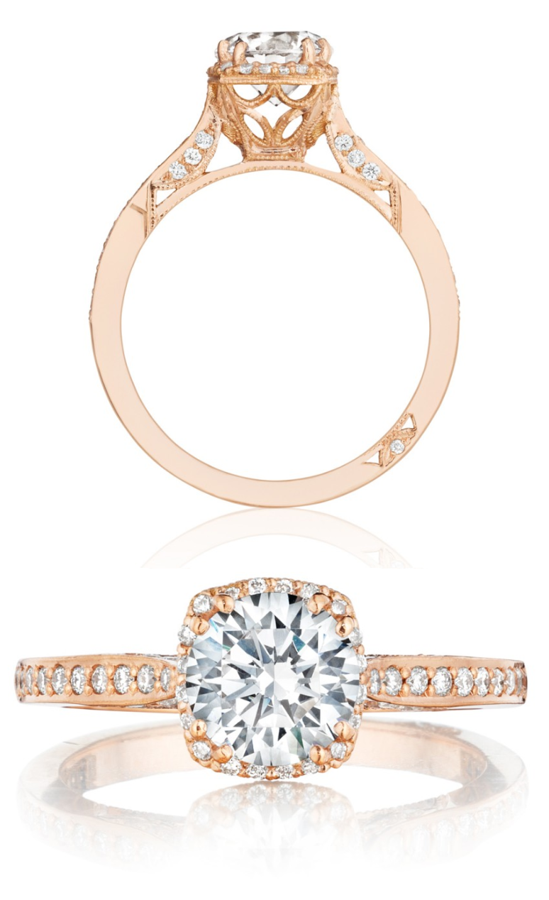 Rose Gold And Diamond Dantela Engagement Ring (#2620rdsmppk) From Tacori's  New Pretty In