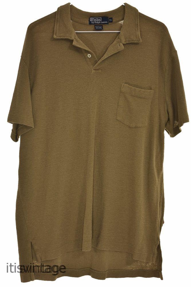 d11149687fd Polo Ralph Lauren XL Waffle Knit Linen Cotton Blend Short Sleeve Shirt  X-Large