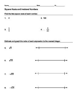 Estimating Irrationals Using Square Roots Number Worksheets Real Number System Word Problem Worksheets