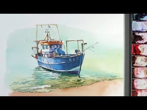Design Watercolors Image By Renee Hatton Boat Drawing Small