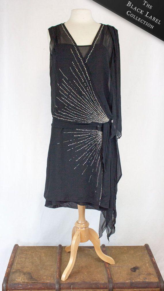 c857fedadd 1920s Beaded Black Flapper Dress with Rhinestones  Women s S M ...