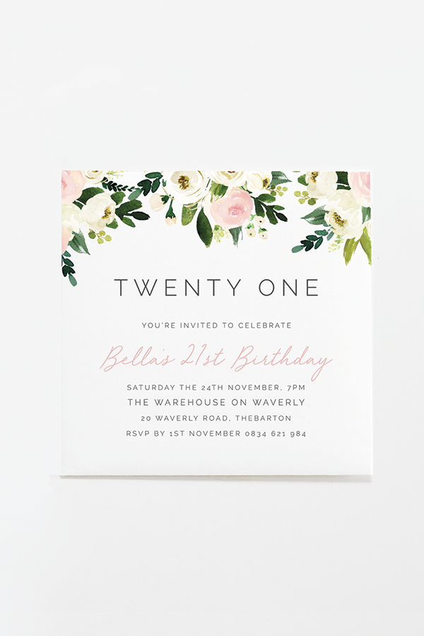 foliage birthday invitation