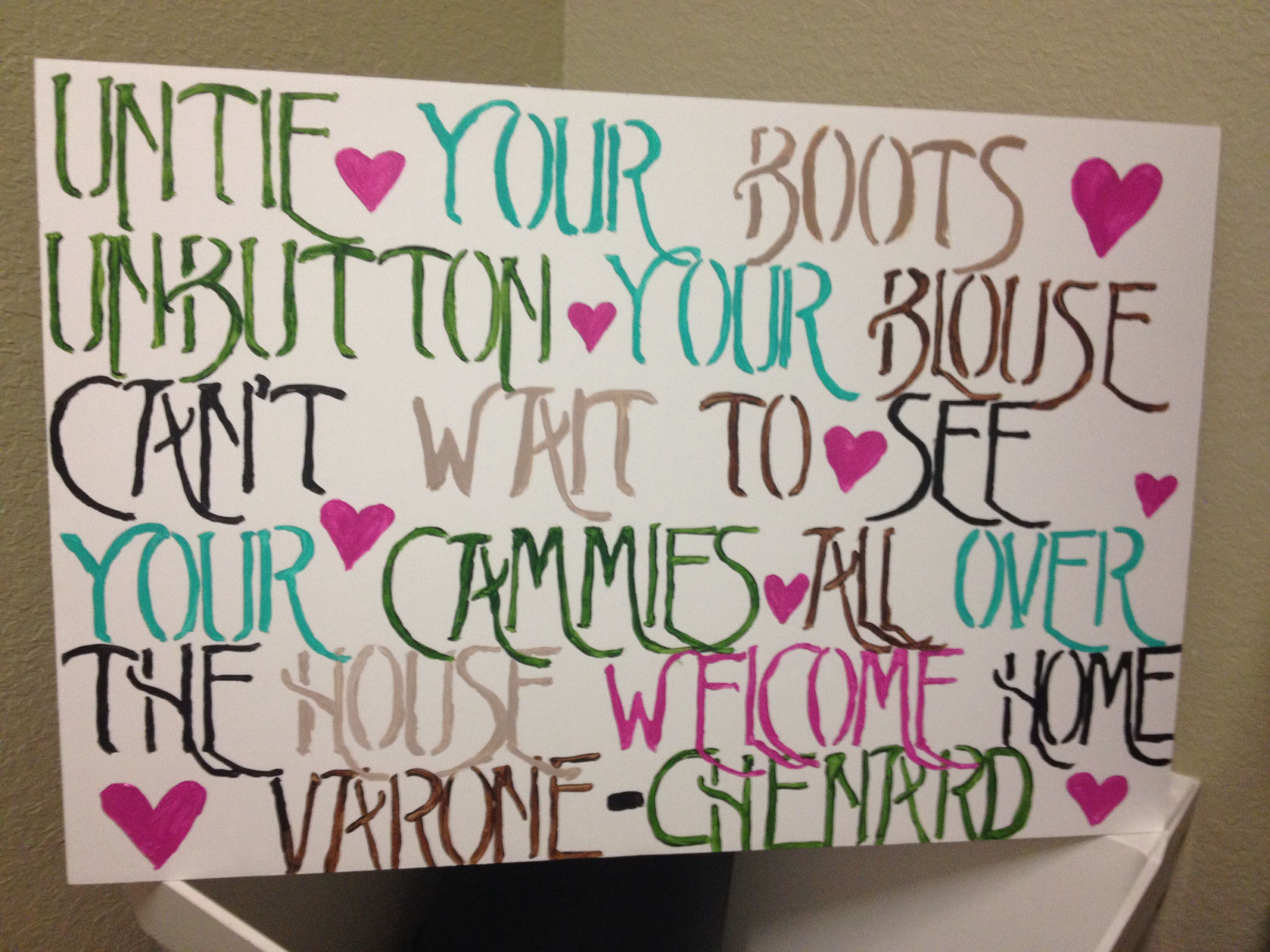 Homecoming sign for front door