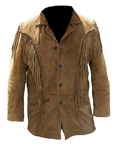 Mens Western Cowhide Cowboy Leather Jacket Fringe and Beaded /& Botton Close Native American Coat Style