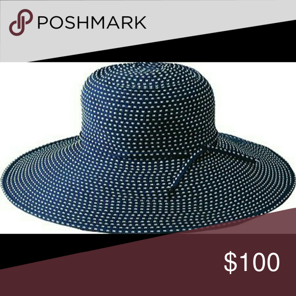 ea08807697d San Diego Hat Co. Blue White Wide Brim Sun Hat Description This navy and  white floppy style hat is designed to be easily packed away   formed right  back ...