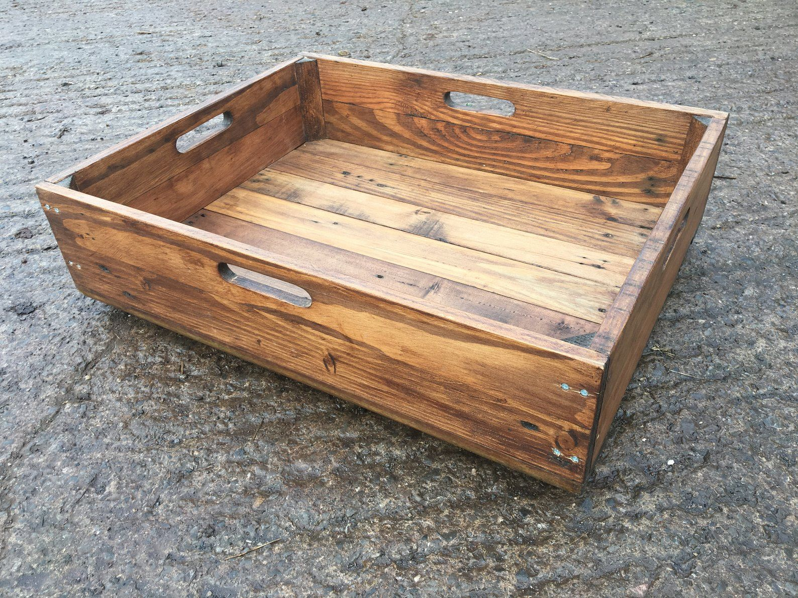 Rustic Sliding Storage Box Crate Made From Reclaimed Pallet Etsy Wood Pallets Reclaimed Pallet Wood Under Bed Shoe Storage
