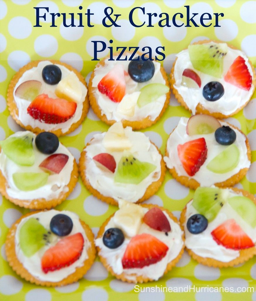 Easy fruit and cracker pizzas crackers kids s and snacks for Easy after school snacks for kids to make