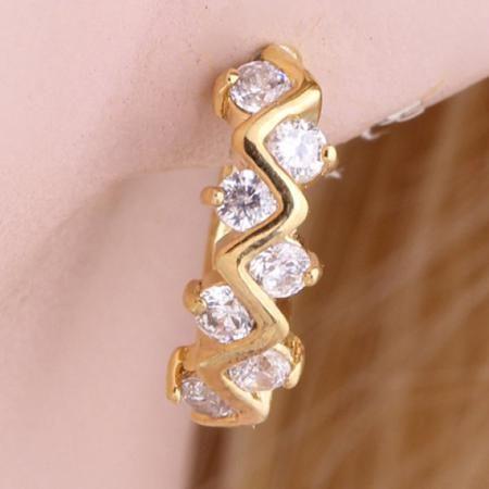 Pair of Rhinestoned Ripple Earrings