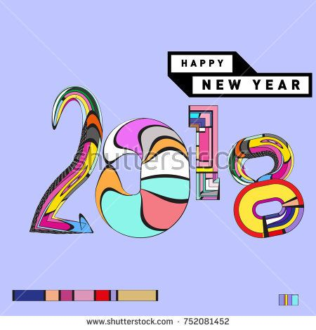 Happy New Year  Greeting Card And Calendar Cover Template