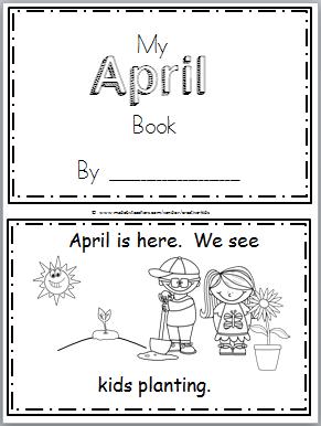 Free April Mini Book for Kindergarten Reading