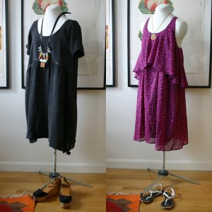 Purple two-tiered dress... is for nursing! Top flounce conceals a nursing layer underneath. Ingenious!
