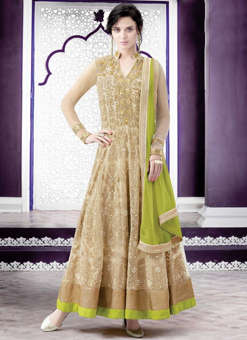 Superb Beige and Light Green Net Embroidery With Moti Work ...