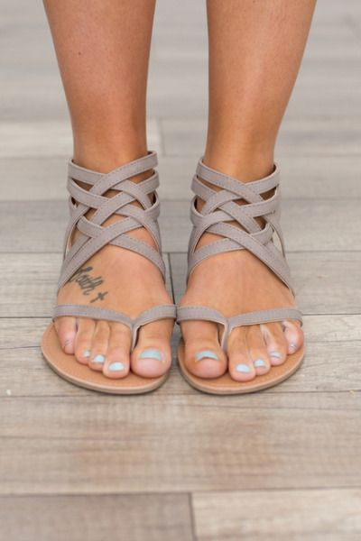 64cddbf35 Strapy front flat sandals with a zipper back closure. Man made material. Fits  true to size. Sizes 5.5-10. Style  SATHENA-566TAUPE