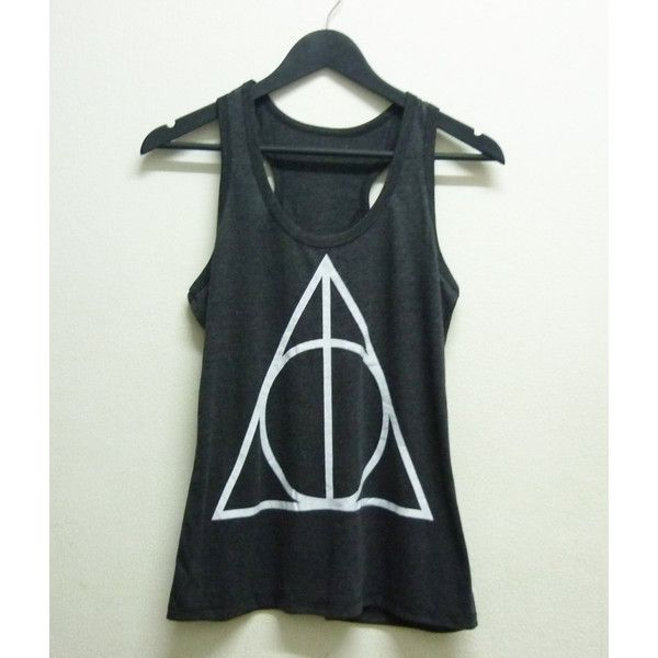 Teen Girl Shirt Harry Potter tank top Women Fashion Ladies tee size S... (38 BRL) ❤ liked on Polyvore featuring tops, shirts, harry potter, tank tops, sleeveless shirts, sleeveless crop top, round top, triangle tops and dark grey shirt