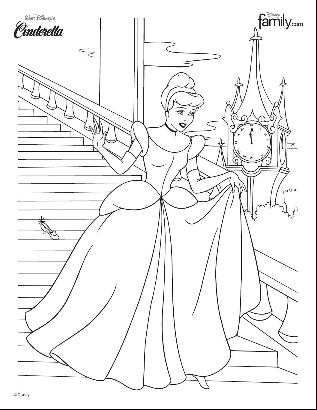 Disney Princess Cinderella At The Ball Colouring In Page