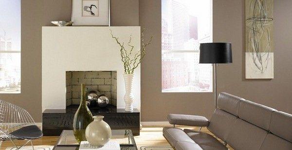 neutres idées salle de vie de couleur cheminée murs blancs crème