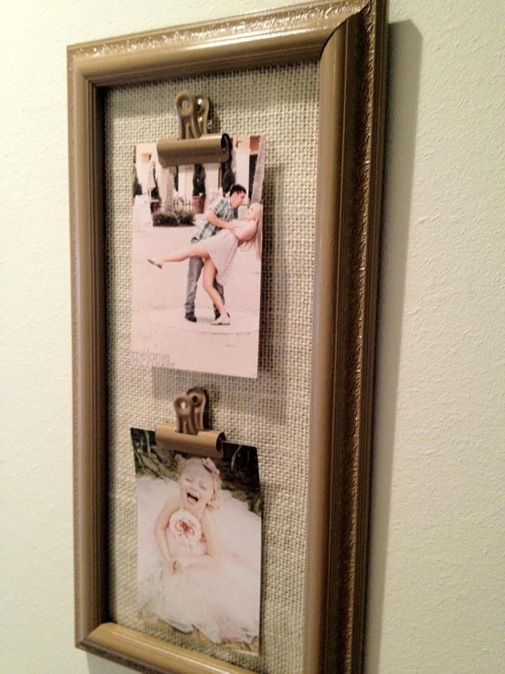 Shabby Chic Light Mocha and Cream Burlap Frame/Picture Holder- Holds ...