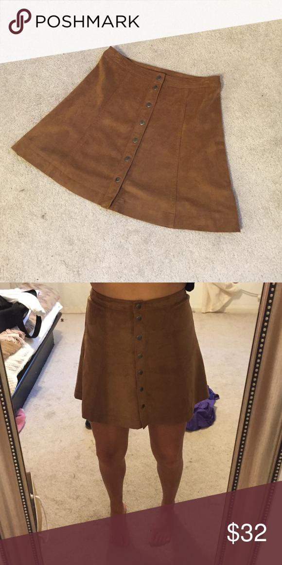 Abercrombie and Fitch faux suede button up skirt Camel colored button up skirt. Literally been worn twice since I bought it earlier this year. Abercrombie & Fitch Skirts Mini
