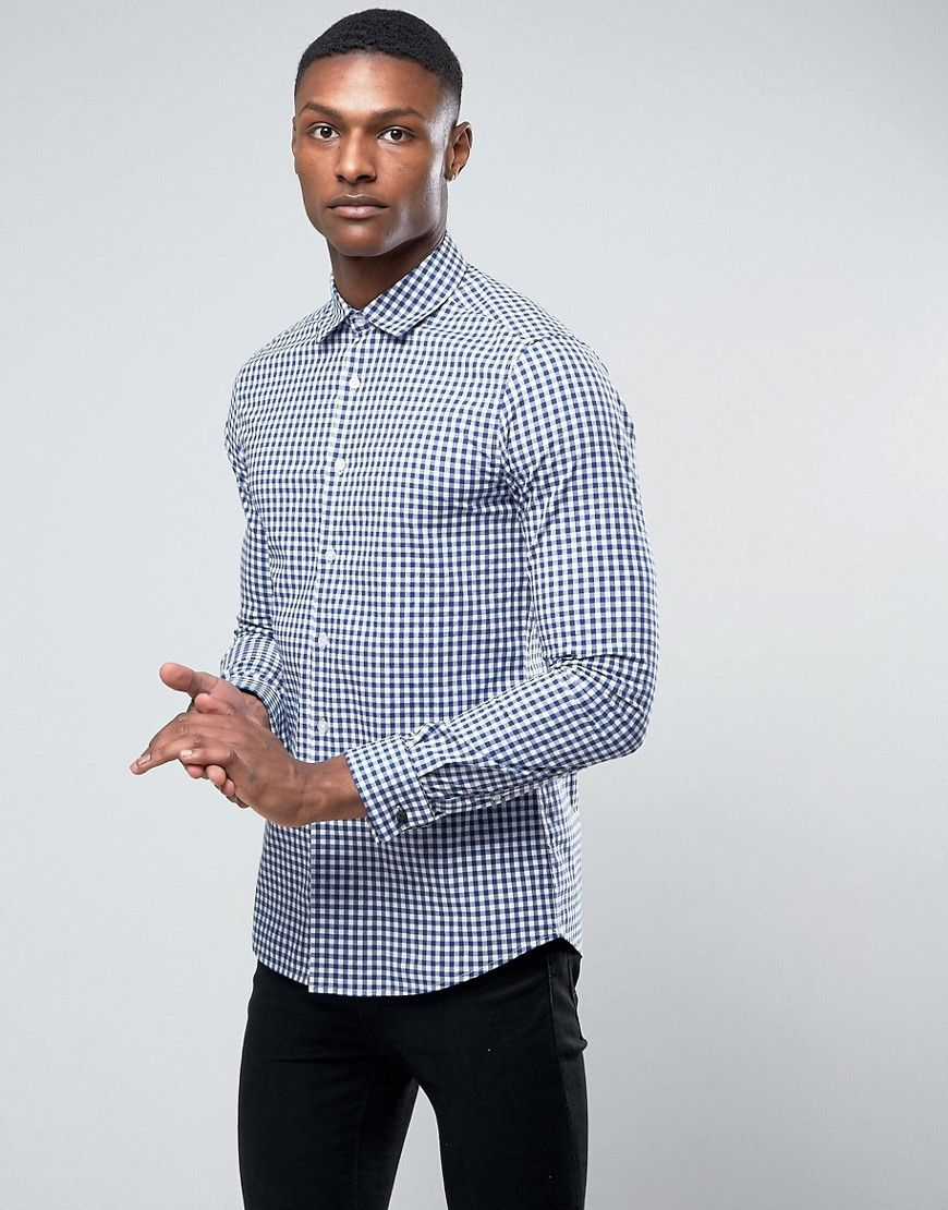 ASOS Smart Stretch Slim Poplin Check Shirt With Cutaway Collar - Navy