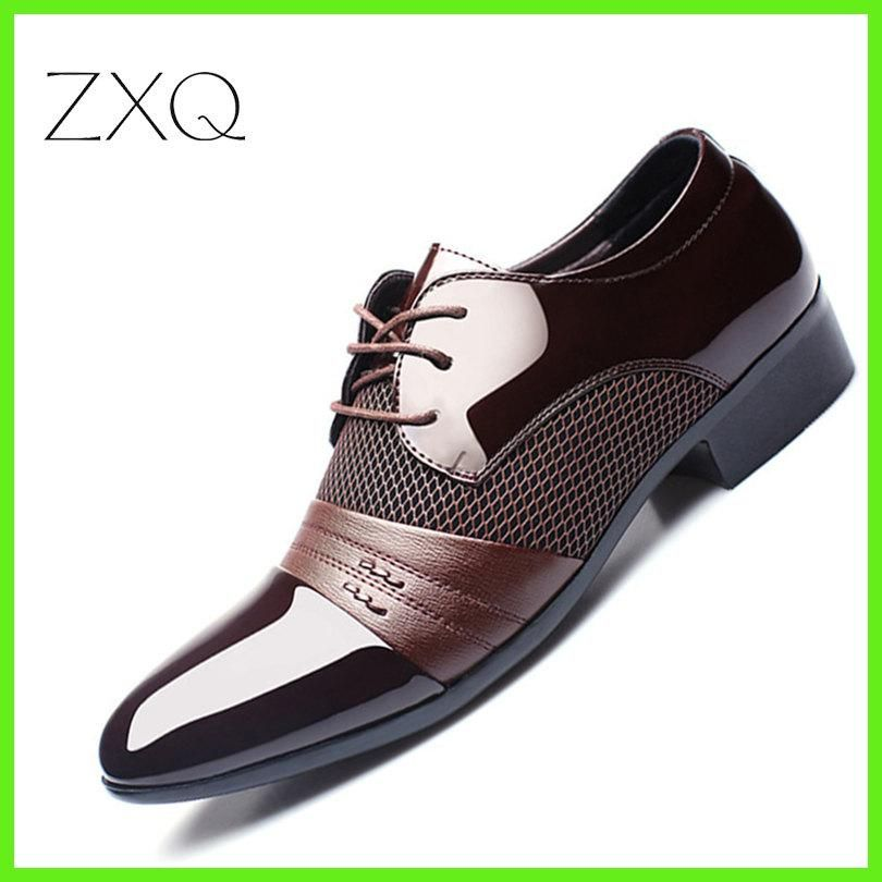 057bc7d3cb02 ZXQ Men Dress Shoes Plus Size 38-47 Men Business Flat Shoes Black Brown  Breathable