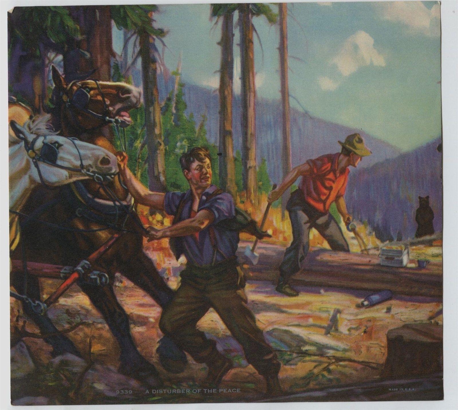Vintage Henry Hintermeister Print Loggers Lumberjacks Horse Team & Bear   eBay