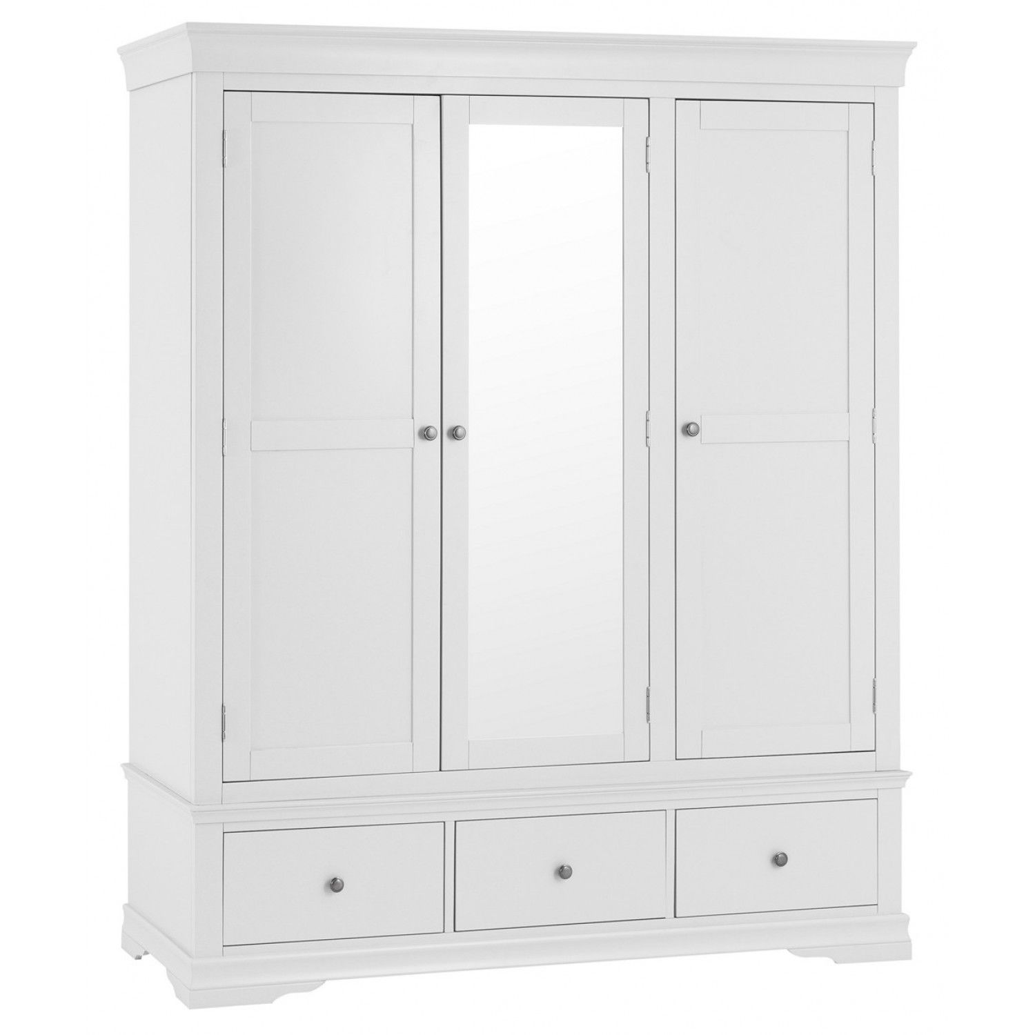 This Bonsoni Classic White 3 Door 2 Drawer Wardrobe Has 3 Handy Drawers With Wooden White Painted Furniture White Painted Bedroom Furniture Wardrobe Dimensions