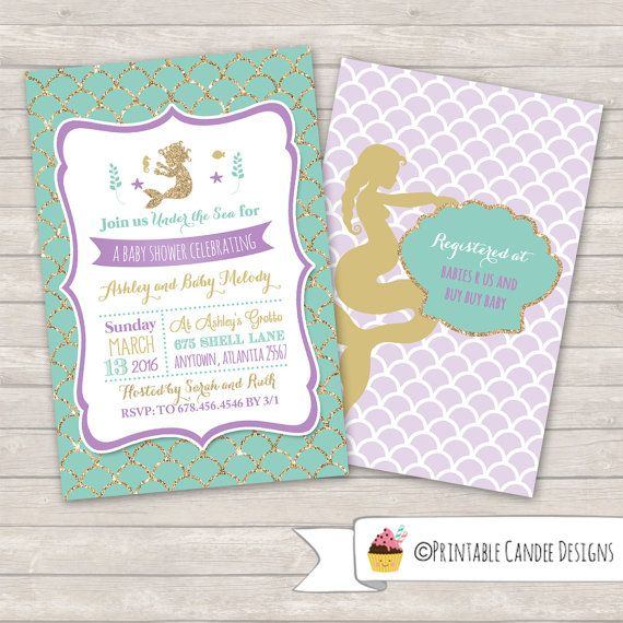 Mermaid Baby Shower Invitation Mermaid Baby By Printablecandee