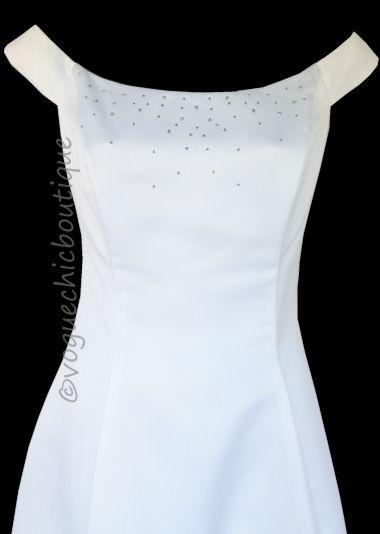 New Jessica McClintock Gunne Sax White Rhinestone Wedding Prom Dress ...