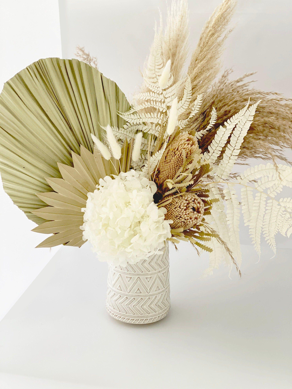 Pampas Grass And Palm Dried Flower Arrangement Etsy In 2020 Dried Flower Arrangements Dried Flowers Flower Arrangements