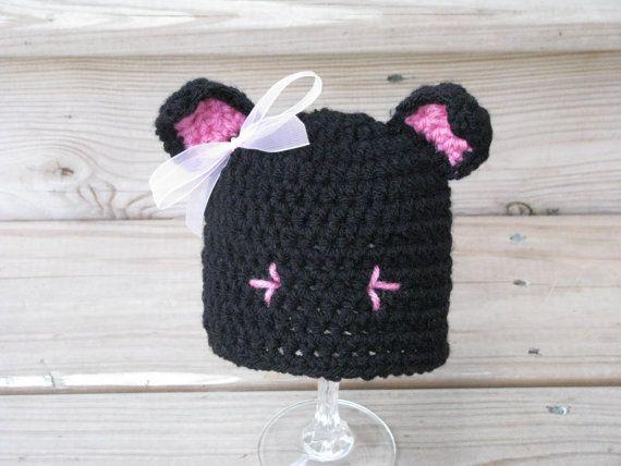 Crochet Newborn Cat Hat Crochet Newborn Halloween by giggalz, $16.00