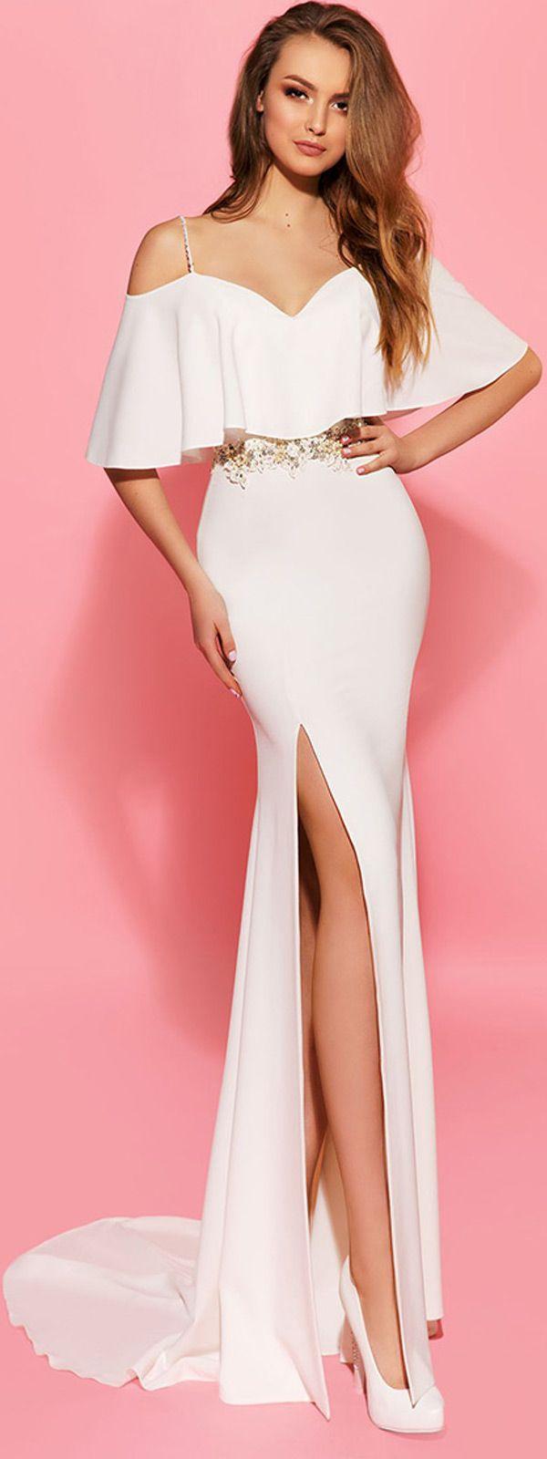 Amazing Acetate Satin Spaghetti Straps Sheath Wedding Dresses With ...